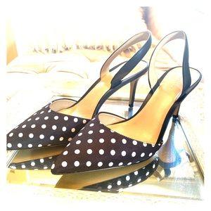 Ann Taylor polka dot black/white sling back heels